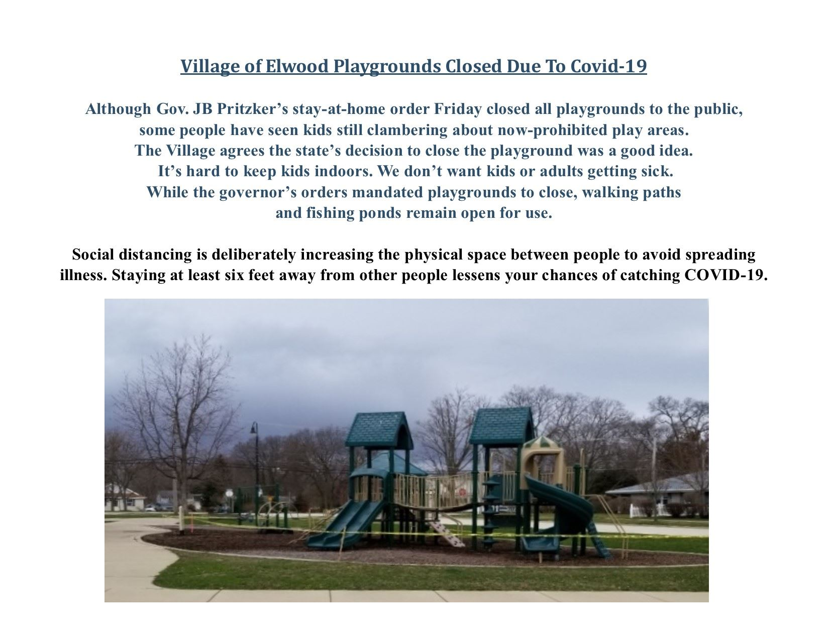 Village Playgrounds Closed Due To COVID-19