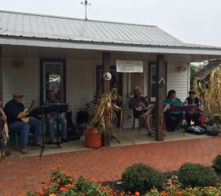 Musicians in a porch