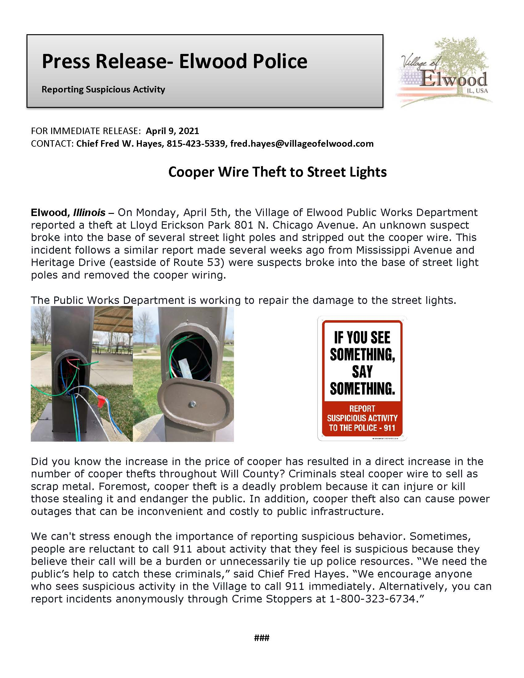 Press Release Cooper Wire Thefts 2021